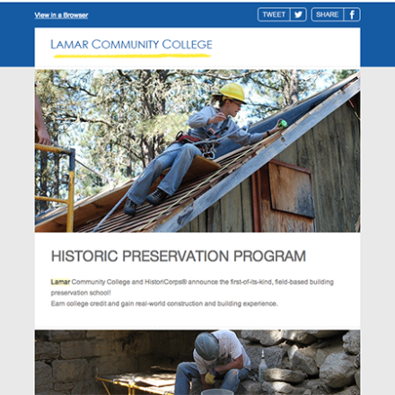 Newsletter for Lamar Community College Historic Preservation Program