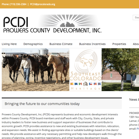 Built on WordPress, website to showcase business development in Prowers County, Colorado.